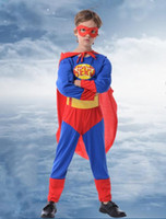 Wholesale Super Man Costumes For Girls - Halloween Clothes Kids Super Man Cosplay Costume Boys & Girls Superhero Cosplay Costumes For Chilren