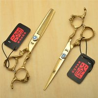 9003 # 2Pcs / Pair 6 '' 17.5cm Golden Kasho Tesoura de cabeleireiro JP 440C Cutting + Thinning Shears Professional Hair Hair Scissors