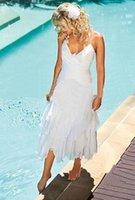 Wholesale White Calf Length Dress - Modern Short Tea Length Mid Calf White Beach Halter Sexy A Line Wedding Dresses Pleat Chiffon Back Zipper Ruffles Cheap Bridal Gowns