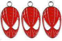 Wholesale Spider Man Head - Classic 50 Piece Cartoon Superhero Spider-Man Red Head Metal Charm Pendants Jewelry Making Toy