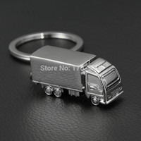 Wholesale Truck Keyring - FREE SHIPPING 200pcs lot 2015 Fashion Novelty Mini Truck shaped Keychains Metal Truck Keyrings for Promotion #COSP-0021