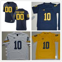 Wholesale Blue Bushes - Michigan Wolverines College 10 Devin Bush 9 Donovan Peoples-Jones 13 Eddie McDoom White Yellow Navy Blue Mens Womens Kids Football Jerseys