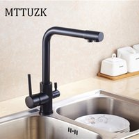 Wholesale Kitchen Faucets Ways - Wholesale- MTTUZK Free Shipping oil bubbed Brass hot cold kitchen water purifier faucet 360 degree rotating double handle double way faucet
