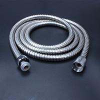 flexibles metall großhandel-2 mt Flexible Edelstahl Chrom Standard Schlauch Duschkopf Bad Schlauch Wasserschläuche Rohr Neue Marke Beliebt