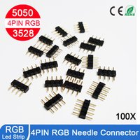 Wholesale Rgb Led Strip Male Connector - 102pcs lot 4 PIN RGB Connector Male to Female For LED SMD RGB 5050 3528 Strip light connector adaptor free shipping