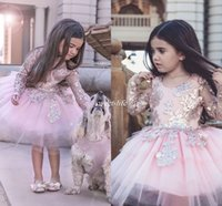 Wholesale Sparkly Pageant Dresses For Girls - Pink Long Sleeve Flower Girl Dresses Ball Gown Tutu Sparkly Appliqued Knee Length Jewel 2016 Cheap Girls Pageant Dress Gowns for Kids Party