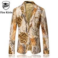 Wholesale Long Coat Design Men - Wholesale- Fire Kirin Men Blazer 2017 Tiger Pattern Mens Printed Blazer Latest Coat Design Velvet Suit Jacket Casual Blazers Stage Wear Q67