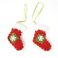 Wholesale Cheap Ornament Sets - cheap Christmas ornament 1 set hanging sock fabrics Christmas tree decoration for home cloth craft christmas gift <$18 no tracking