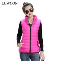 Wholesale Female Gilet - Wholesale-Autumn Winter Coat 2016 Women Ladies Gilet Colete Feminino Casual Waistcoat Female Sleeveless Cotton Vest Jacket Plus Size
