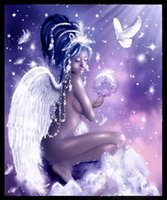 Wholesale Sex Canvas Paintings - New diy diamond painting cross stitch kits resin pasted painting full round drill needlework Mosaic Home Decor cartoon sex girl angel yx0726