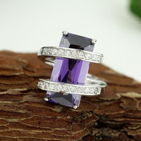 Wholesale Cheap Gemstone Jewelry Sets - Wholesale cheap Fashion Jewelry Amethyst gemstone 925 sterling silver ring size7 8 9