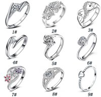 Wholesale Brilliant Diamond Rings - 925 sterling silver Diamond Wedding Rings for women White gold round brilliant wedding band wedding Ring eternity band High quality jewelry