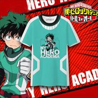 camisa verde longa venda por atacado-My Hero Academia de manga curta T-shirt Green Valley um longo dos desenhos animados t-shirts para homens e mulheres, full-color em volta do pescoço verão