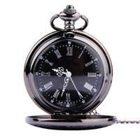 Wholesale Clock Locket Necklaces - Black Dual Display Roman Numeral Pocket Watches necklace Quartz Watches Wall Clock Locket Necklaces women Christmas jewelry Gift 230225