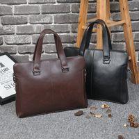 Wholesale Genuine Leather Handbags Korea - Men Business Handbag Korea Crazy Horse Leather Vintage Briefcase Men Totes Single Shoulder Bag Laptop Packs Cross Body Male Bag Shop