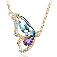 Wholesale Insects Gold Pendant Necklaces - Multicolor Butterfly Crystal Necklace Women Rhinestone Long Necklace Silver Gold Insect Pendant Necklace Women 1PC Gift