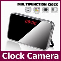 Wholesale 5MP HD P Mini Clock Camera Motion Detection Mirror Alarm Clock Video DVR Digital Recorder Remote control Mini CCTV Camera