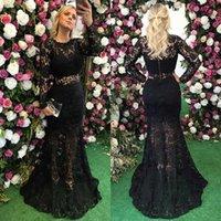 siyah çıkarılabilir etek toptan satış-Muhteşem Siyah Mermaid Dantel Gelinlik Ile Ayrılabilir Etek Uzun Kollu Abiye giyim Sheer Boyun Vestidos De Fiesta Boncuklu Örgün Elbise
