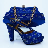 Wholesale Heels For Women Silver - Royal blue! Wholesale Italian matching shoes and bags set good looking woman party shoes and bags with stones for party and wedding CP63009