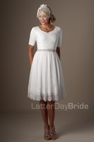 Wholesale Sleeves For Wedding Dresses - Ivory Lace Chiffon Short Informal Modest Wedding Dresses With Half Sleeves Knee Length Vintage Reception Dresses For Wedding Short Casual