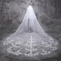 Wholesale Cathedral Veil 5m - 2016 Luxury Long Beige Wedding Veil Retro Lace Appliques Bridal Veils Flower Veils 5m One Layer