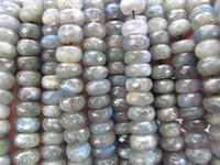 Wholesale Genuine Labradorite - genuine Labradorite Bead Natural Labradorite Rondelle Roundels Abacus Faceted Grey Loose Bead 3X5 4X6 5X8 6X10mm full strand