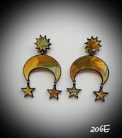 Wholesale Acrylic Mirror Earrings - 206E Pretty Girl Fashionionable MOON &STAR Gold Mirror Acrylic Earrings Luxury Brand Trendy Moon Cool Earrings