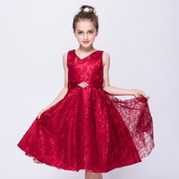 Wholesale Thick Lace Gowns - New Sleeveless Girls Dresses Lace Thick Satin Sash Ball Gown Birthday Party Christmas Princess Dresses Flower Girl Dress