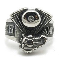 Wholesale Cool Engine - 2pcs lot New Design Popular Biker Style Engine Ring 316L Stainless Steel Jewelry Cool Silver Motorbiker Ring