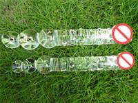 dildo de vidro lésbica venda por atacado-Grande Vibrador De Vidro Enorme Cristal Pênis Duplo Terminou Grande Pirex Anal Beads Butt Plug Ass Bolas Sex toys para mulheres homens gay Lésbica