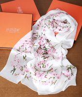 Wholesale Long Silk Scarf Styles - 2016 NEW Style 180*65cm Flower Design Ladies Long Scarf,100% Real Silk Satin Female Scarves,High Quality Women Fashion Printed Silk Shawl