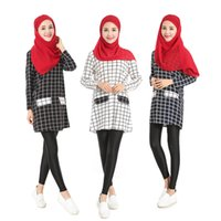 Wholesale Muslim Abaya For Sale - 2017 Hot sale new fashion muslim abaya blouese for women islamic plaid shirt High quality chiffon long sleeve turkish women clothing