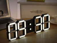 Wholesale Led Wall Watches - Creative Remote Control Large LED Digital Wall Clock Modern Design Home Decor 3d Decoration Big Decorative Watch White   Black