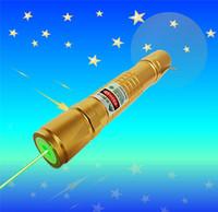 Wholesale Leisure Pointer - Golden 532nm green laser pointer mw pen adjustable focus match Leisure keyed for 5000-10000 meters green laser