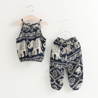 Wholesale Outfits Vintage - Summer Europe Fashion Girls Vintage Clothing Set Kids Irregular Elephant Floral Sun-top + Pants Children 2pcs Outfits Suits 11980