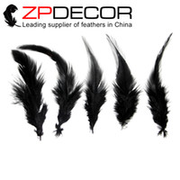 Wholesale Wholesale Cheap Chicken - Wholesale in ZPDECOR Factory 12-15cm(5-6 inch) Fluffy and Smooth Cheap Dyed Black Rooster Chicken Saddle Feathers