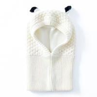 Wholesale Toddler Crochet Beanies Scarfs - Wholesale White Toddler Ear winter Windproof Hats and Scarf set Baby Earmuff Cap Crochet headgear soft warm Hat Knit baby winter beanies