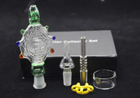 Wholesale Glass Oil Pendant Wholesale - 14mm and 19mm mini nectar collector Kit Perc Pendant kit with Titanium Tips Water-cooled and Spillproof 5.0 Oil Rig Concentrate Pipes