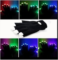 Wholesale Dancing Gloves - LED Flash Gloves Five Fingers Light Ghost Dance Black Bar Stage Performance colorful Rave Light Finger Lighting Gloves Glow Flashing OOA291