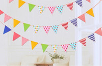 Wholesale Paper Pennant - New Arrive 12 Flags Bunting Pennant Flags Banner Garland Wedding Birthday Baby Shower Party Decoration