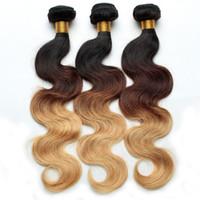 Wholesale 1b 27 Human Hair Weave - Ombre Hair Extensions Brazilian Body Wave Hair Weave Bundles Three Tone 1B 4 27 Virgin Human Hair Extensions 3 or 4 Pcs Lot