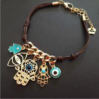 colgante de la mano de fatima al por mayor-Hamsa Evil Eye Bracelet Hand Fatima Bracelet Hand Gold Pendant Crystal Charm Bracelet Leather Braid Bracelets Christmas Gift