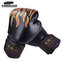 Wholesale Glove Fire - Mens Fire Logo PU Leather EVA Protect Boxing Gloves Hand Protector Gear Practice & Training Gloves