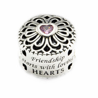 Wholesale Round Friendship Bracelets - Fits for Pandora Bracelet Original 925 Sterling Silver beads Love & Friendship Charm with pink CZ 2016 new Autumen jewelry DIY 1PC lot