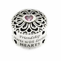 rosa freundschaftsarmbänder großhandel-Lose Perlen passend für Pandora Armband Original 925 Sterling Silber Perlen Love Friendship Charm mit rosa CZ 2016 neuen Autumen Schmuck