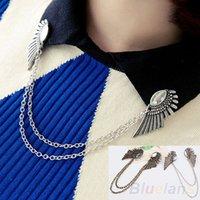 Wholesale Wings Collar Clip - Wholesale- Bluelans Retro Collar Clip Punk chain Blouse Shirt angel Wing Tips pin brooch boho tassel