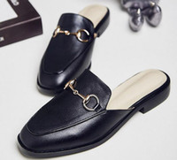 Wholesale american classic shoes - 2017 spring and summer new women's shoes European and American rough with low-heeled slippers Baotou comfortable sandals