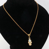 Wholesale Wholesale Gold Hamsa Charms - Hot ! 100 Pcs Luck Unisex Hamsa Fatima Hand Charm Necklace Evil Eye Pendant Charm silver Gold Chain Jewelry