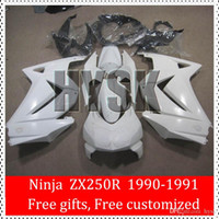 Wholesale Body Kits Parts - Pearl White Fairings Of Kawasaki Ninja 1991 1990 ZX250R 90 91 ZX 250R 90-91 OEM Quality Racing Bike Parts ABS Plastic Fairing Body Kit