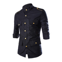 Wholesale Shirt Epaulets - Wholesale-Men's Casual 3 4 Sleeve Shirts Single Breasted Gold Button With Epaulet Black Red Tunic Stand Collar Military Style Men